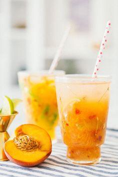 Peach Mules - Vodka, Peach Schnapps, Grand Marnier, Peach, Lime, Ginger Beer.