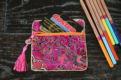 Silk fabric floral card holder with zip, copper coin and fringe, change purse, coin bag, 4.75''×4.75''