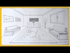 Oda Çizimi,tek nokta perspektifli iç mekan çizimi, How to draw a room with one point perspective? - YouTube