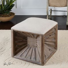 A real crowd pleaser! Carved cube ottoman with natural linen top - only 2 in stock and they will go fast!