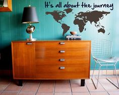 Map your Journey - Explore, Dream, Discover the WORLD - vinyl wall art decals sticker graphic by from on Etsy. Apartment Design, Apartment Living, Tulum, Home Decor Wall Art, Diy Home Decor, World Traveler Nursery, World Map Decor, Explore Dream Discover, Vinyl Wall Art