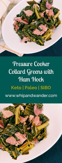 These Pressure Cooker Collard Greens with Ham Hock are tasty, easy, and belong on your table as soon as possible. Thankfully, with a few minutes of prep and 15 minutes in your pressure cooker, they can be. They also fit Keto, Paleo, and SIBO diets, making them a guilt-free way to spruce up dinner.