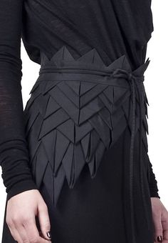 Origami Fashion - asymmetric origami belt with structural fabric manipulation to create layers, folds  repetition for a decorative effect; creative sewing // Freak Factory by stacie