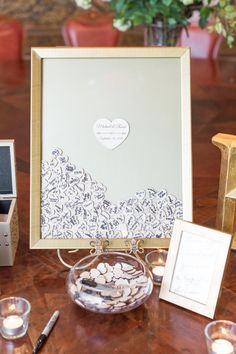 Guest book shadow box with wood chips to sign on   Karlee K Photography   villasiena.cc