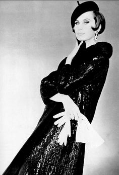 1964 Bettina Lauer in black satin evening coat covered in paillettes with mink collar by Lanvin-Castillo, photo by Pottier,