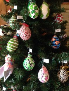 Decorated Christmas egg ornaments