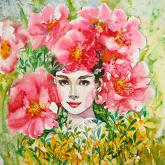 Audrey Hepburn by Ryu Eunja - Beauty will save Academic Drawing, Tribal Women, Art Poses, Vanitas, Female Poses, The Wiz, Grace Kelly, Audrey Hepburn, Pink Flowers