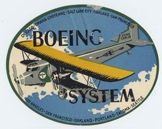 One of the earliest luggage labels we have in our collection is one that was issued by Boeing Air Transport featuring a Boeing 80 airliner from circa 1928. Boeing Air Transport was a predecessor to United Airlines and flew the routes Chicago, Omaha, Cheyenne, Salt Lake City, Oakland, San Francisco, and Los Angeles, San Francisco, Oakland, Portland, Tacoma, Seattle.