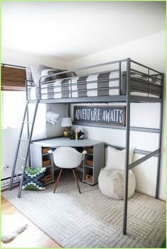 #bedroom decor #industrial decor #nail winter #garden design #industrial decor #neutral nail #diy desk #diy bookshelf Loft Bed, Bunk Bed Rooms, Bedroom Decor, Bunk Beds For Boys Room, Bed Design, Bunk Bed Designs, Tiny Bedroom, Loft Spaces, Boys Bedrooms