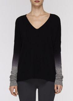 Ombre Sleeve V-Neck Sweater | Vince