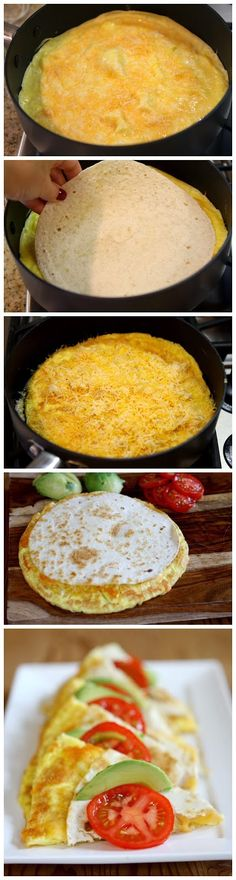 Breakfast Quesadillas by recipegirl : Cheesy and gooey. Kid Friendly Step: Let the kids sprinkle the cheese into the pan. Once the quesadillas are on the plate have them decorate with slices of tomato and avocado. Breakfast Desayunos, Breakfast Dishes, Breakfast Recipes, Breakfast Quesadilla, Breakfast Ideas, I Love Food, Good Food, Yummy Food, Tasty