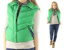 $78, Vintage 80s WOOLRICH Down Vest Bright Green Puffer Ski Snowboarding Jacket 1970s Winter Coat Medium M by ScarletFury on Etsy