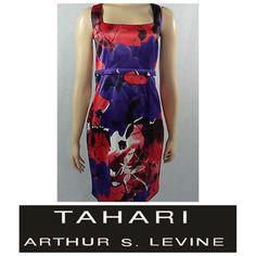 Fabulous Cocktail Dress Red and purple zips up the back Tahari Dresses Midi