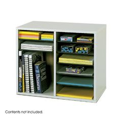Wood literature organizer with laminate finish. Adjustable and removable shelves. Solid fiberboard back. Wood literature organizer with laminate finish. Adjustable and removable shelves. Desktop Storage, Desktop Organization, Office Organization, Organizing Ideas For Office, Office Hacks, Office Supply Storage, Locker Storage, Art Storage, Storage Boxes