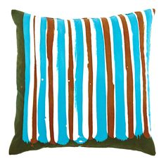 Turquoise Stripe Pillow by Robert Moore via @Serena and Lily BAZAAR