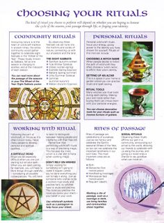 Book of Shadows: #BOS Choosing Your Rituals page.