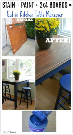 """Girl finds china cabinet at the thrift store for only $40. Girl uses an easy furniture paint called Beyond Paint for a pretty blue china cabinet makeover. Girl loves the """"AFTER""""!"""