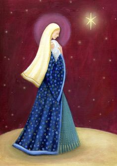 Ileana Oakley - Ileana Oakley Religious Mary And Jesus Blessed Mother Mary, Blessed Virgin Mary, Jesus Mother, Catholic Art, Religious Art, Christmas Nativity, Christmas Crafts, Mary And Jesus, Church Banners