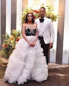 Tebogo Lerole hints at his future plans to marry Khanyi Mbau Wedding Suits, Wedding Attire, Traditional Wedding Dresses, Africa Fashion, White Outfits, Bridal Gowns, Fashion Dresses, Formal Dresses, African