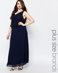 Image 1 ofJunarose Sleeveless Maxi Dress With Lace Overlay