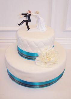 2 Tier Wedding Cake (Teal & Brown)