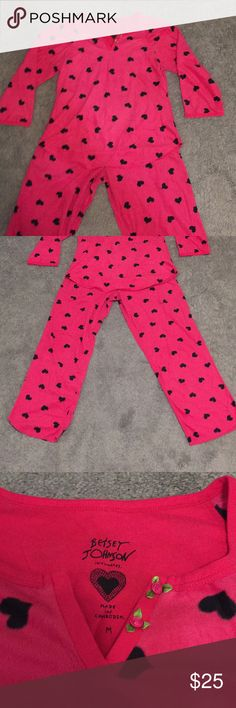 Betsy Johnson Heart Pajama Set Heart Pajama Set. Pants have a very small piece of elastic around them, not a thick band like most pajama pants. Betsey Johnson Intimates & Sleepwear Pajamas