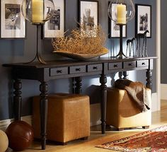 Store ottomans under table against wall???repurposed furniture ideas | Repurposed Furniture Ideas