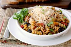 Mediterranean Chicken Pasta--very versatile. It can be served as a main dish or salad. Tastes great hot or cold!