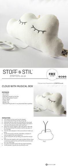 CLOUD WITH MUSICAL BOX FOR CHILDREN - FREE PATTERN