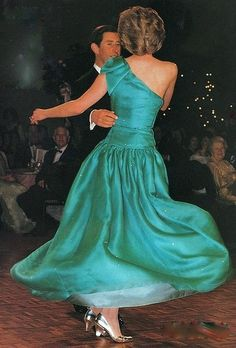 Love this dress!  Princess Diana dances with Prince Charles.