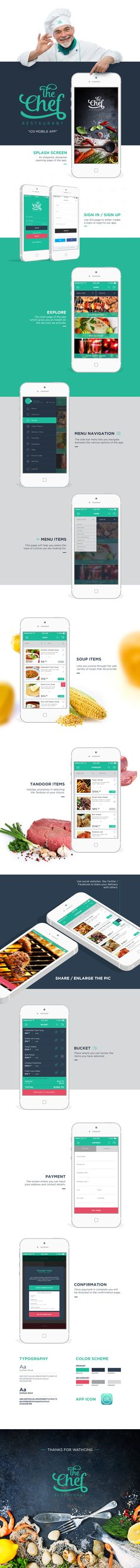 The Chef Restaurant iOS App on Behance Iphone App Design, App Ui Design, Interface Design, Identity Design, Mobile Application Design, Mobile Web Design, Restaurant App, Catalogue Layout, App Design Inspiration