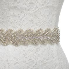 Rhinestone Embellished Satin Sash  Wedding Bridal Belt for Party Prom Evenining