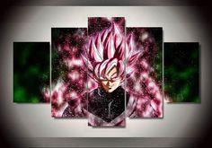BLACK GOKU SSJ ROSE 3D 5 PANEL CANVAS