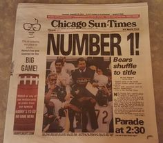 Reprinted headline from 30 years ago today. Chicago Bears win the Super Bowl.