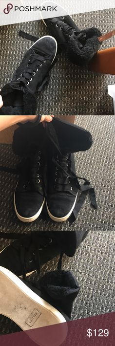 LANVIN black suede high top shearling sneakers In good conditions Lanvin Shoes Sneakers
