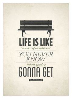 Movie quote forrest gump typography art poster life is like a box of forrest gump life quote poster fandeluxe Images