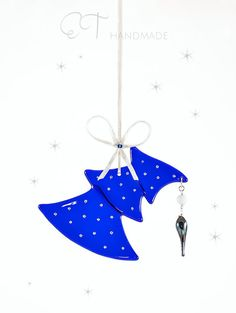 Blue Murano glass sun catcher, Fused glass suncatcher, Unique christmas ornament, Housewarming decoration, Holiday gift idea xmas decoration  $43.34