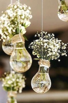 Wedding Flowers 65897 budget rustic wedding decorations flowers gypsophila in vases similar to light bulbs suspended on a rope colin cowie weddings Dream Wedding, Wedding Day, Gown Wedding, Lace Wedding, Wedding Rings, Wedding Dresses, Trendy Wedding, Wedding Photos, Wedding List