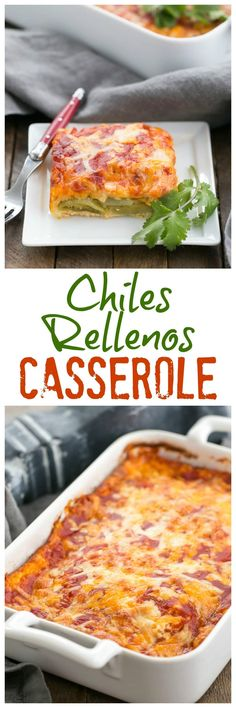 Chiles Rellenos Casserole | A super easy version of the classic Tex-Mex dish #texmex #chiles #casserole #meatless