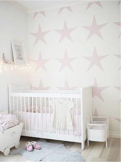 Star nursery, pink stars on a nursery wall~ Star Nursery, Nursery Room, Girl Nursery, Nursery Decor, White Nursery, Nursery Ideas, Child's Room, Babies Nursery, Nursery Letters