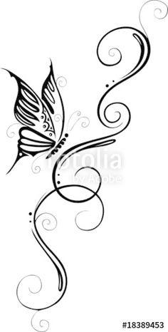 """Laden Sie den lizenzfreien Vektor """"floral, filigranes Tattoo, Ranke mit Schmetterling, butterfly"""" von christine krahl zum günstigen Preis auf Fotolia.com herunter. Stöbern Sie in unserer Bilddatenbank und finden Sie schnell das perfekte Stockbild für Ihr Marketing-Projekt!"""