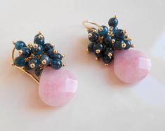 Boucles d'oreilles grappe de pierres précieuses à noelle blush rose vert bleu sarcelle pendants goutte fil wrap pendentif apatite jade remplissage de l'or Saint-Valentin idée cadeau pour elle