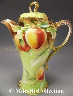 Nippon hand-painted apples chocolate pot