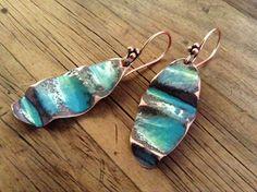 Crumpled Enamel on Copper Oval Earrings by ChristensenStudio, $20.00