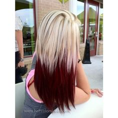 Crimson and Blonde Hair Colors Ideas ❤ liked on Polyvore