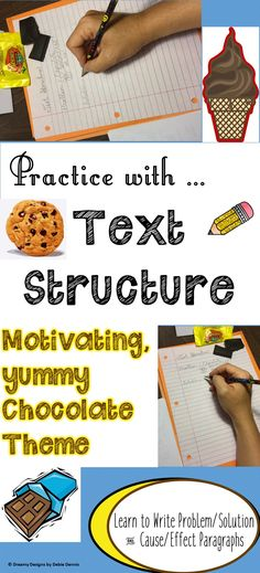 """Say """"goodbye"""" to Writer's Block in your classroom, and """"hello"""" to text structure writing with text evidence!  Using CHOCOLATE, a high interest subject, engaging articles, video clips and kid-friendly teaching slides, your students will be motivated!  Check it out :  https://www.teacherspayteachers.com/Product/ProblemSolution-CauseEffect-Text-Structures-Test-Prep-Chocolate-Lesson-5-6-7-8-1612870 for a closer look!"""
