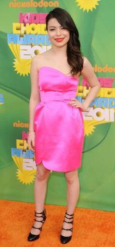 Who made Miranda Cosgrov's sandals and pink strapless dress that she wore to Nickelodeon's 24th Annual Kids' Choice Awards in Los Angeles on March 2, 2011? Dress and shoes – Miu Miu