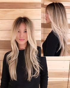 Our and her healthy locks courtesy of our on staff magician, 🔮✨ Blonde Asian Hair, Blonde Hair With Roots, Hair Color Asian, Dyed Blonde Hair, Blonde Hair Looks, Balayage Hair Blonde, Brown Blonde Hair, Asians With Blonde Hair, Asian Balayage