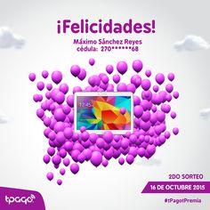 ¡Felicidades a Máximo Sánchez Reyes! Cliente de Banco Popular Dominicano que usando tPago ganó una tablet Samsung #tPagotPremia
