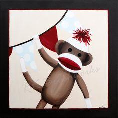 Children's Art Print  Classic Sock Monkey Party